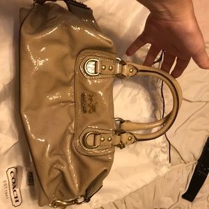 Coach Sabrina tan patent leather purse